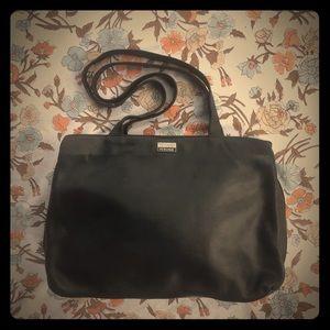 Perlina New York Vintage Black Leather laptop bag